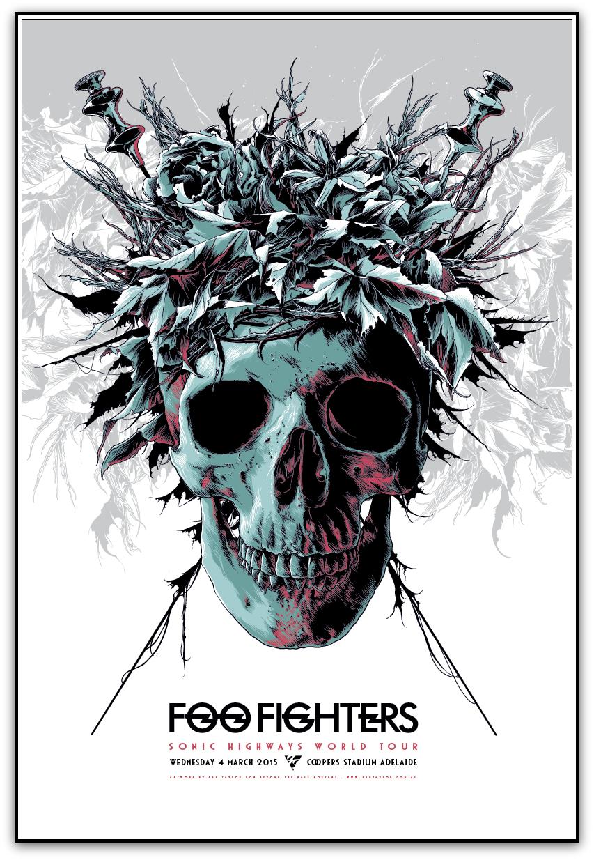 """""""Foo Fighters - Adelaide 2015"""" by Ken Taylor.  620 x 420mm Screenprint.  Ed of 350 S/N.  $60"""