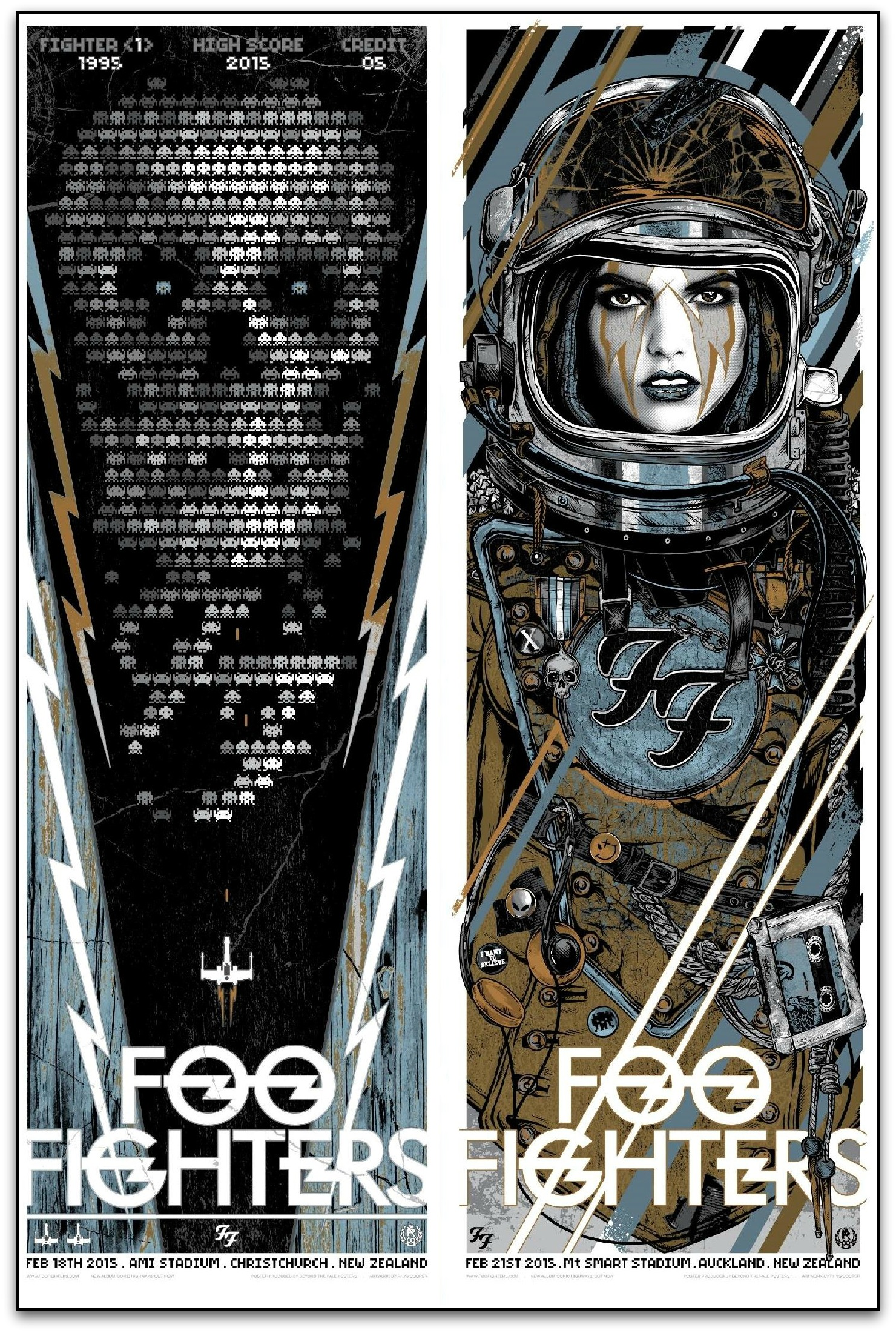 """Foo Fighters - Christchurch/Auckland 2015"" by Rhys Cooper.  24"" x 36"" Screenprint.  Ed of 50 S/N.  $150"
