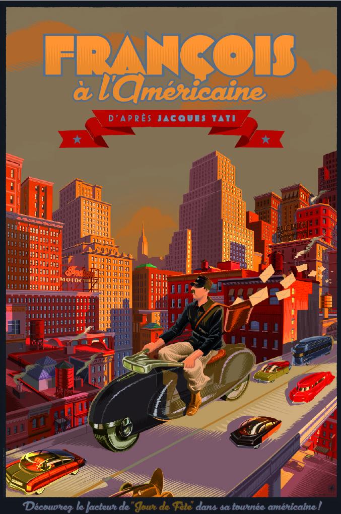 """""""François à l'Américaine"""" by Laurent Durieux.  24"""" x 36"""" Giclee.  Timed edition.  $65"""