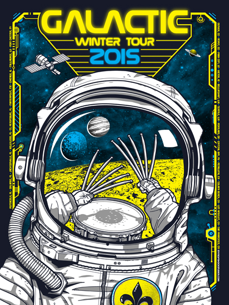 """Galactic - Winter Tour 2015"" by Darin Shock.  18"" x 24"" 4-color Screenprint.  Artist Edition of 40 S/N.  $25"