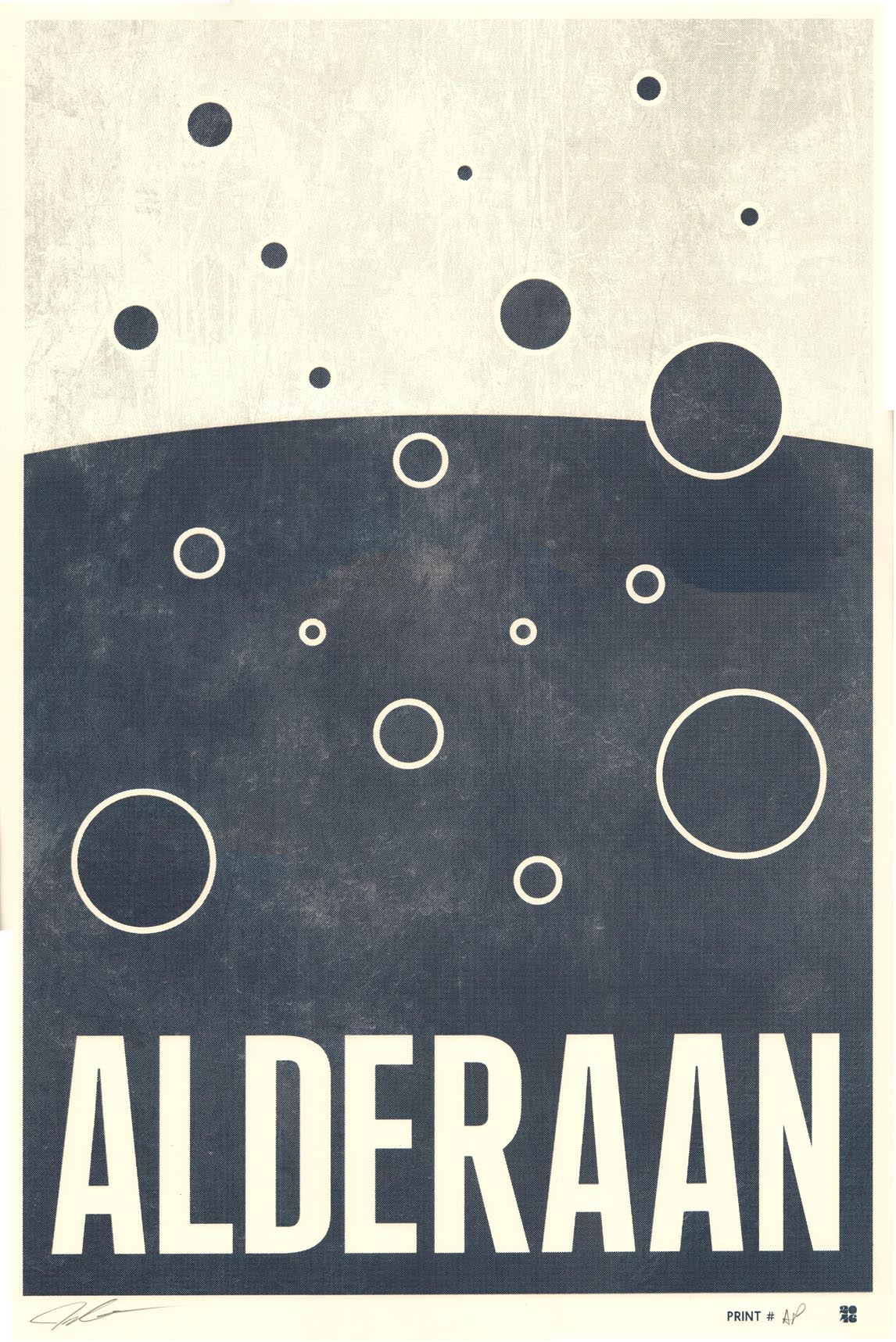 """Alderaan"" by Justin Van Genderen.  16"" x 24"" Screenprint.  Ed of 60 S/N.  $45"