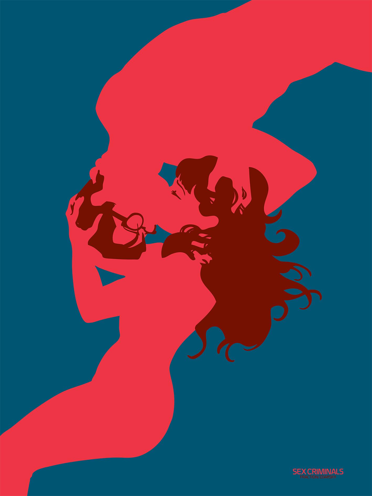 """""""Sex Criminals"""" by Chip Zdarsky.  40 x 60cm 3-color Screenprint.  Ed of 100 S/N.  €35 ($38)"""