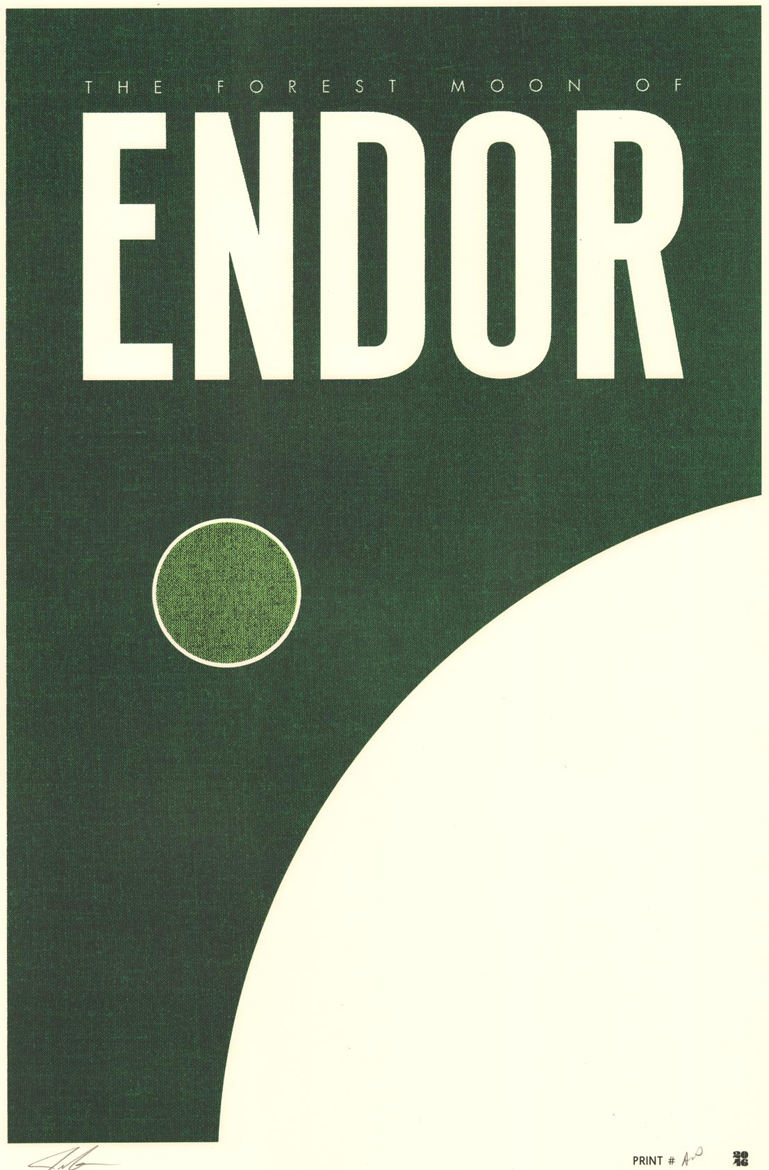 """Endor"" by Justin Van Genderen.  16"" x 24"" Screenprint.  Ed of 60 S/N.  $45"