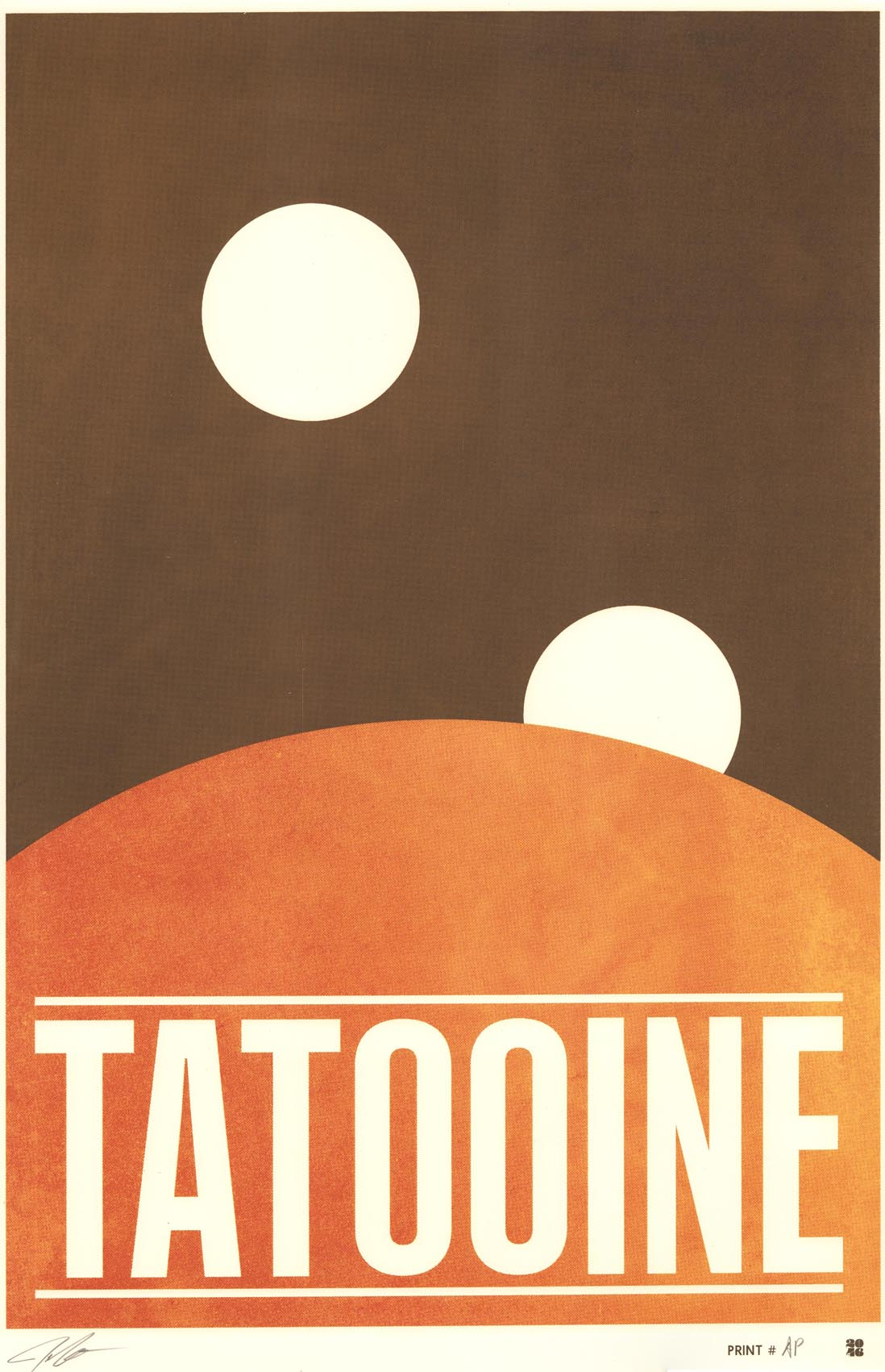 """Tatooine"" by Justin Van Genderen.  16"" x 24"" Screenprint.  Ed of 60 S/N.  $45"