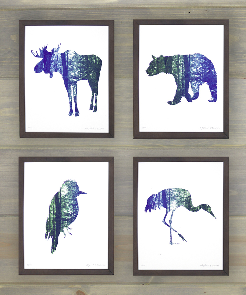 "'Flora and Fauna' by Arsenal Handicraft.  (4) 8"" x 10"" Screenprints.  Ed of 100 S/N.  $20 each : $60 set"