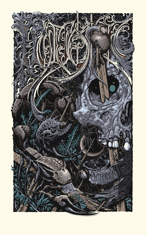 """Hyperstoic"" by Aaron Horkey and Pushead.  22.5"" x 36"" 13-color Screenprint.  Ed of 183.  $175"