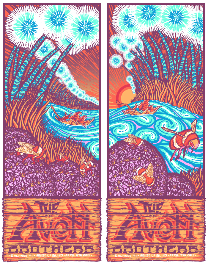 """The Avett Brothers - Orlando, FL 2015"" by Brad Klausen,  24"" x 30.5"" 7-color Screenprint.  Ed of 25 S/N.  $75 (uncut)"