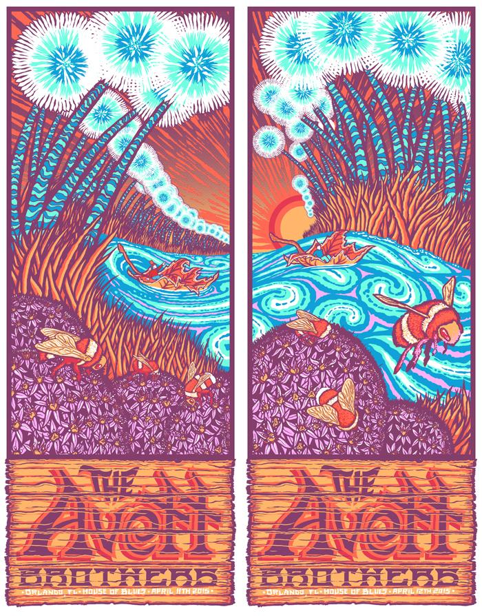 """The Avett Brothers - Orlando, FL 2015"" by Brad Klausen,  24"" x 30.5"" 7-color Screenprint.  Ed of 25 S/N.  $75 (uncut)"