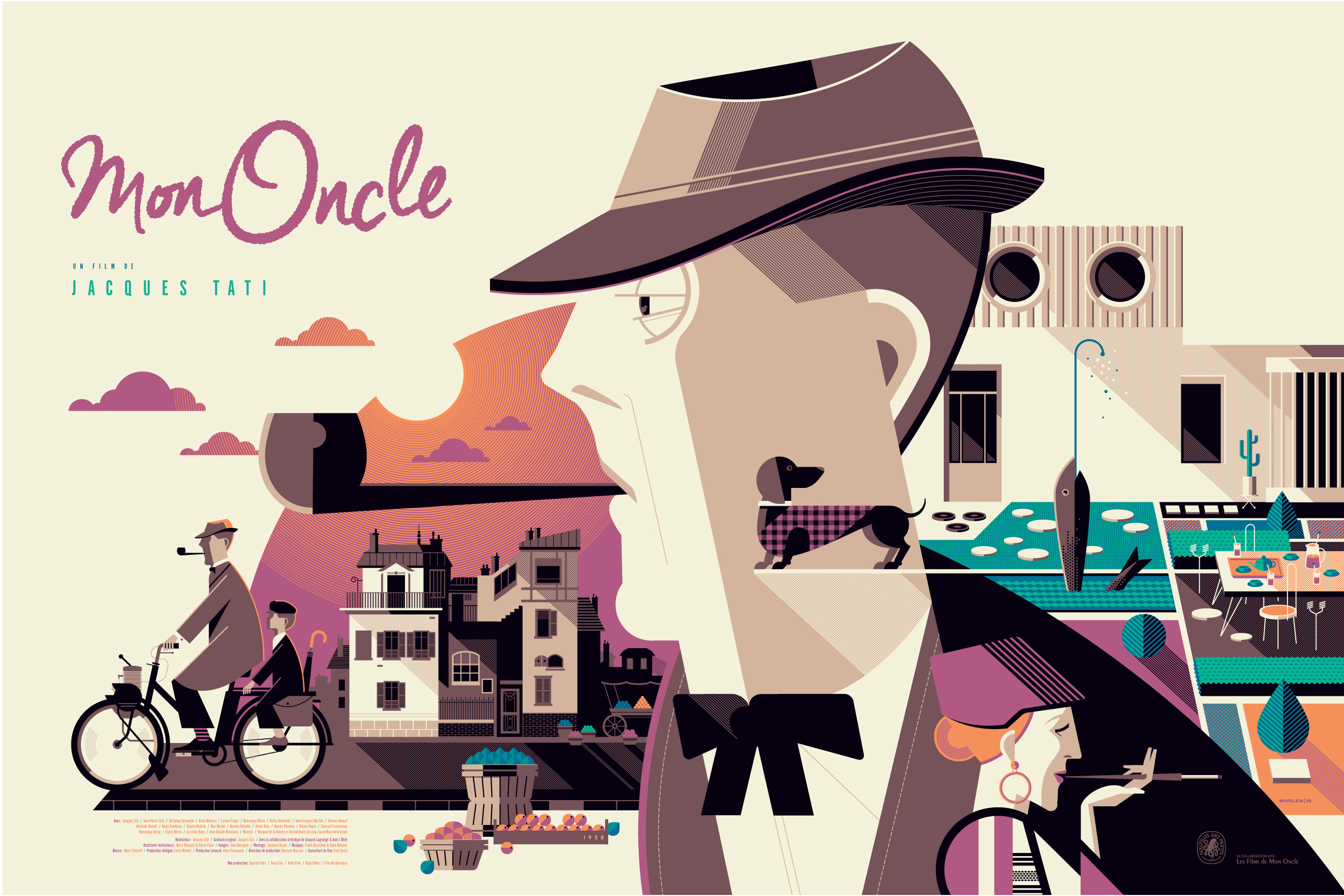 """Mon Oncle"" by Tom Whalen.  24"" x 36"" 7-color Screenprint.  Ed of 58 N.  $84 (variant)"