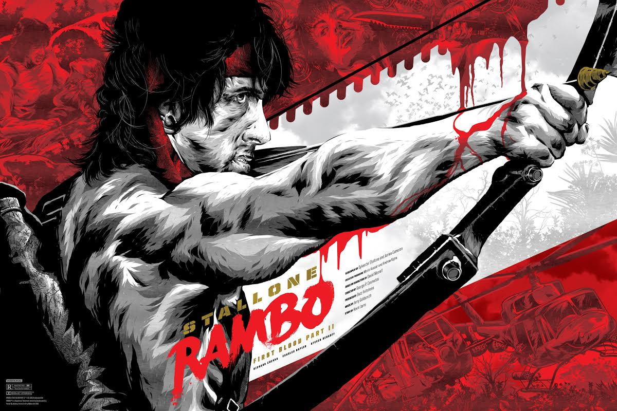 """Rambo: First Blood Part II"" by Anthony Petrie.  36"" x 24"" Screenprint.  Ed of 125 N.  $55 (variant)"