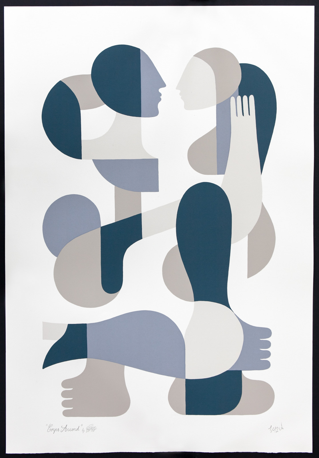 """Corps Accord"" by Remed.  66 x 96cm 4-color Screenprint.  Ed of 12 S/N.  €420 ($461)"