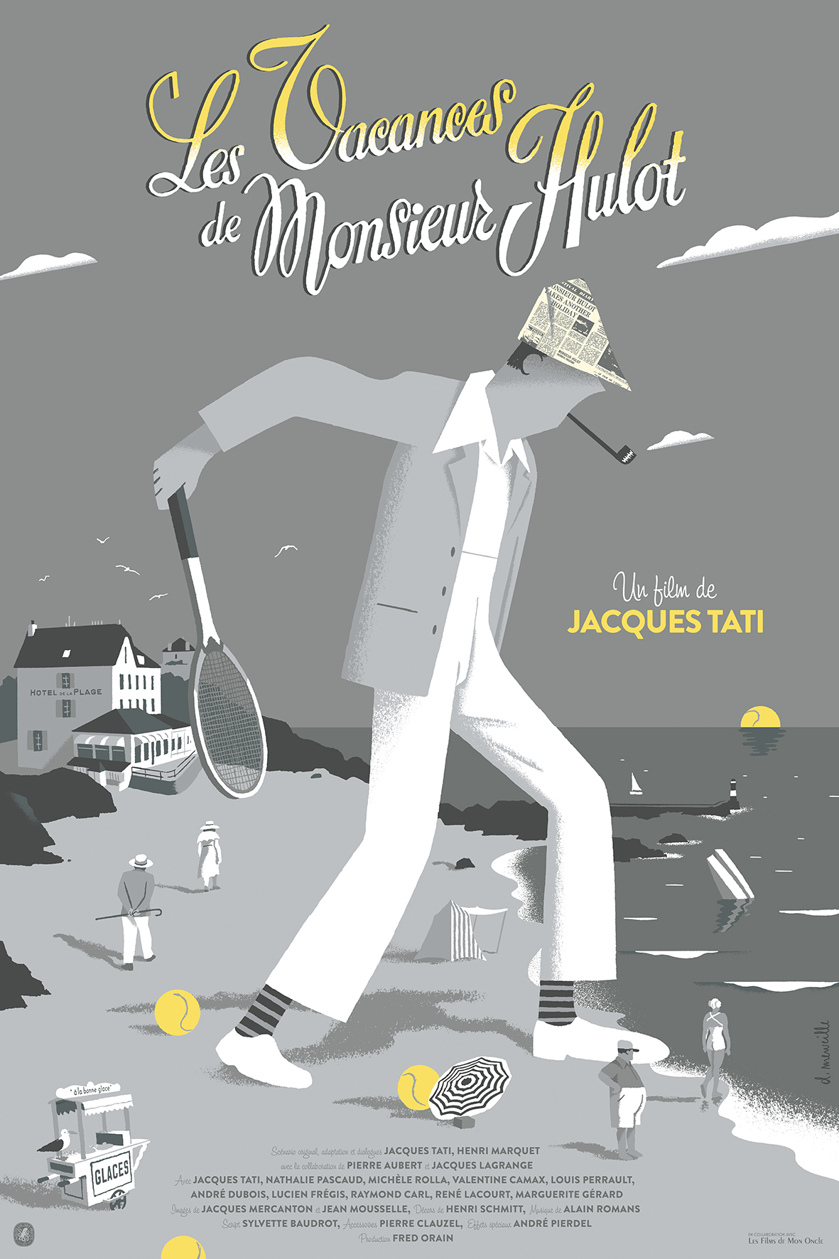 """Les Vacances de Mr Hulot"" by David Merveille.  24"" x 36"" 7-color Screenprint.  Ed of 150 S/N.  $56"