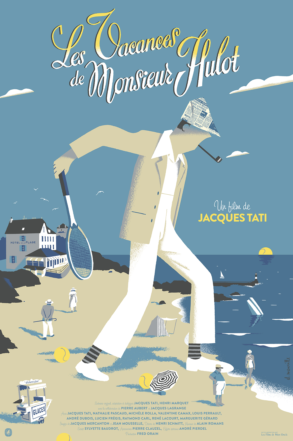 """Les Vacances de Mr Hulot"" by David Merveille.  24"" x 36"" 7-color Screenprint.  Ed of 53 S/N.  $84 (variant)"