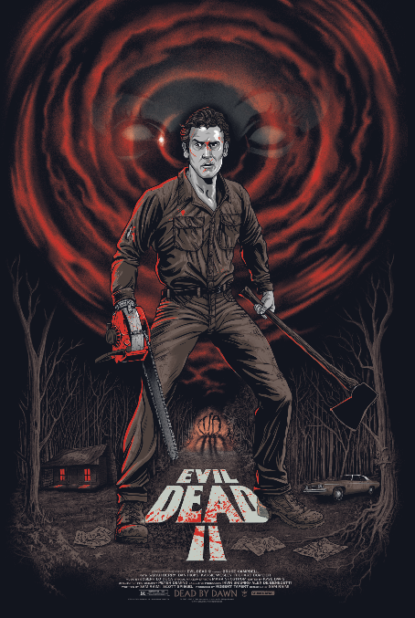 """Evil Dead 2"" by Gary Pullin.  24"" x 36"" Screenprint w/ GID.  Ed of 100 N.  $65 (variant)"