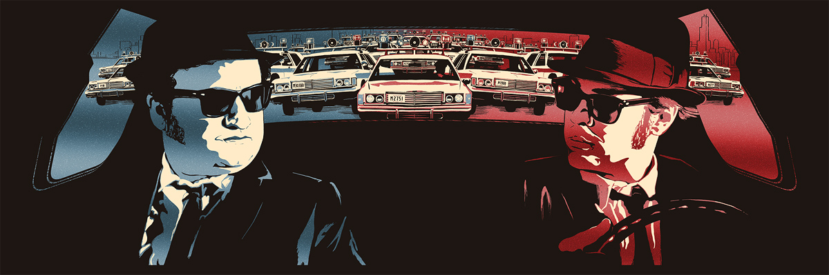 """We're On A Mission From God"" by Rob Loukotka.  12"" x 36"" 3-color Screenprint.  Ed of 175 S/N.  $65"