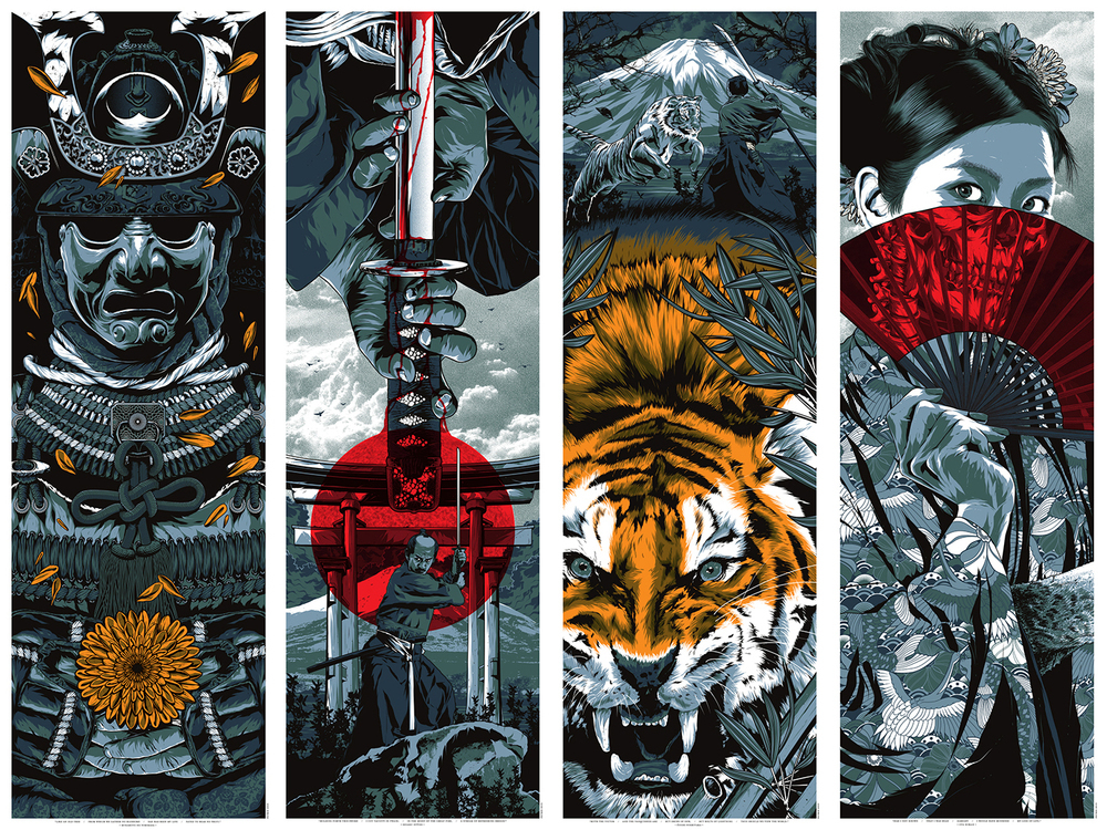 "'Warrior's Dreams Series 1' by Anthony Petrie.  (4) 12"" x 36"" Screenprints w/ metallics.  Ed of 100 S/N.  $25 each : $80 set"
