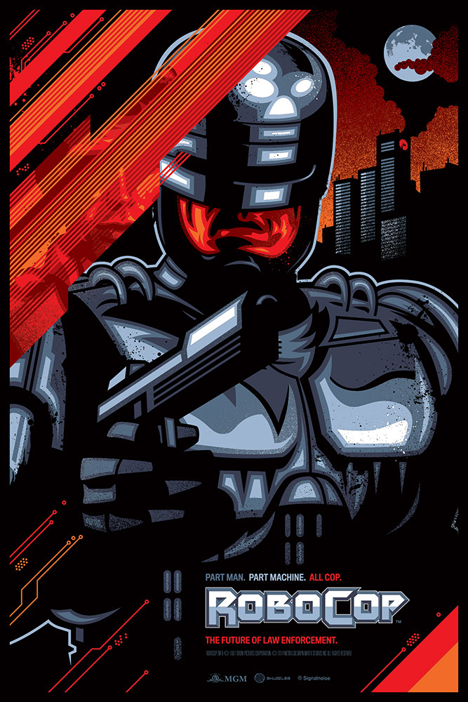 """Robocop"" by James White.  24"" x 36"" 10-color Screenprint w/ metallics.  Ed of 165.  $50"