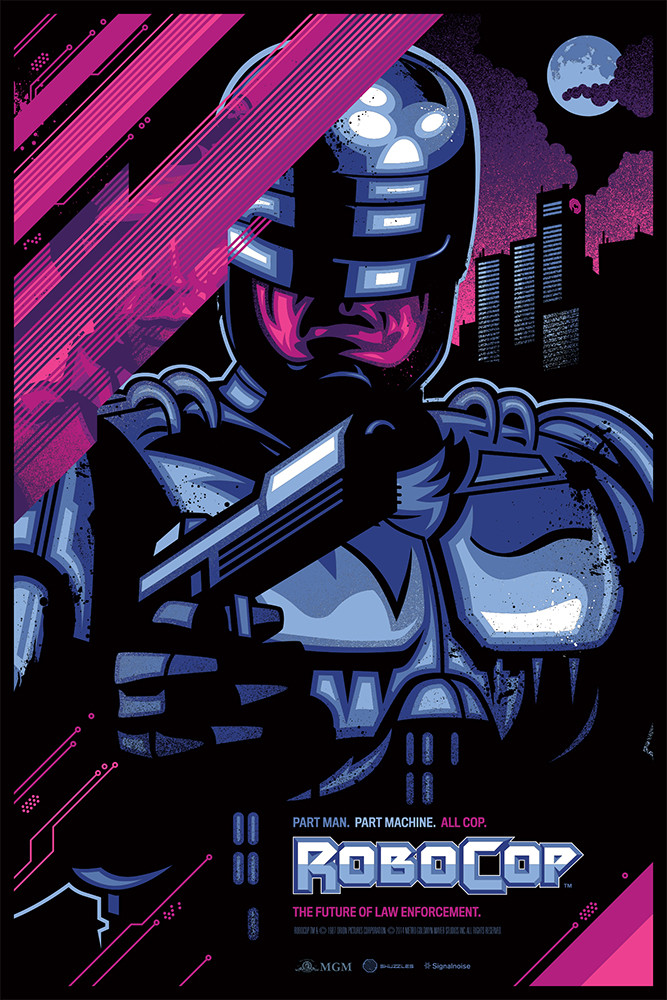 """Robocop"" by James White.  24"" x 36"" 10-color Screenprint w/ metallics.  Ed of 75.  $60 (variant)"