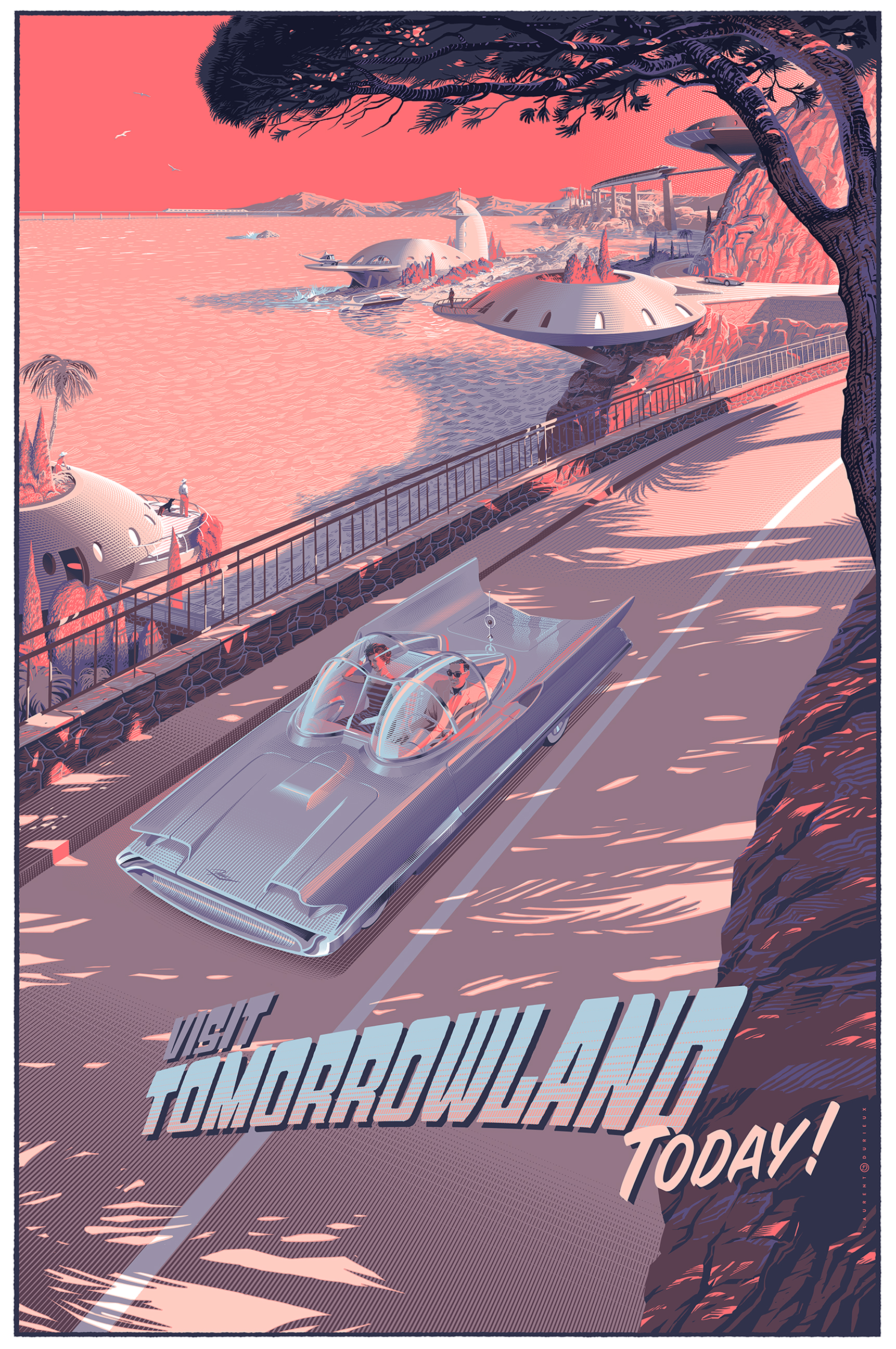 """Visit Tomorrowland Today!"" by Laurent Durieux.  24"" x 36"" 11-color Screenprint.  Ed of 250 S/N.  60 Euro ($68)"