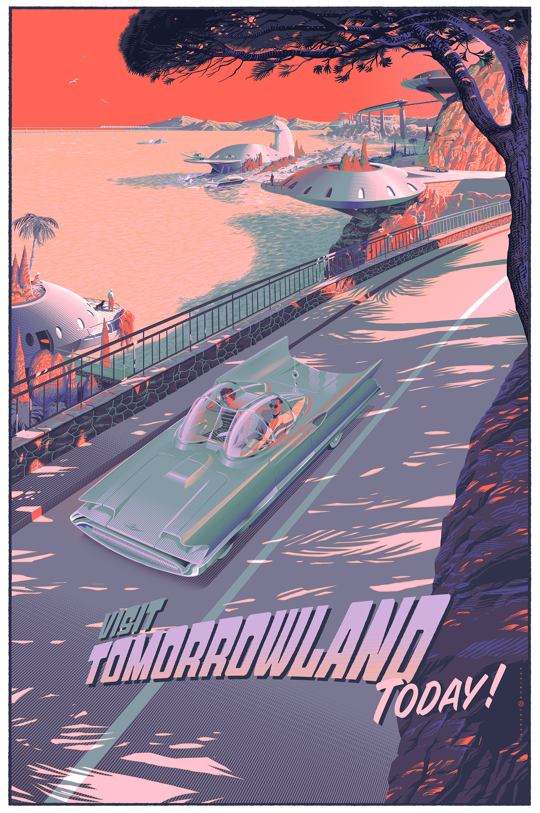 """Visit Tomorrowland Today!"" by Laurent Durieux.  24"" x 36"" 11-color Screenprint.  Ed of 100 S/N.  75 Euro ($84) (variant)"