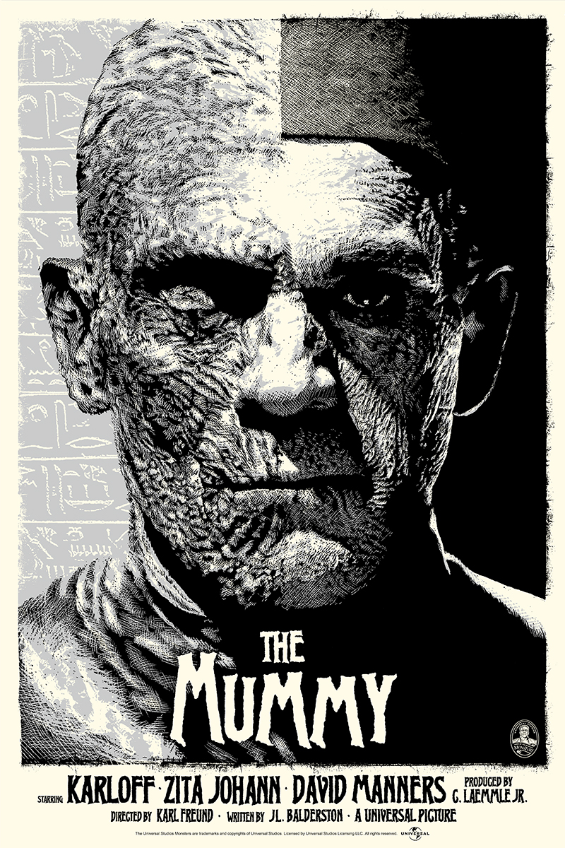 "The Mummy (Silver) by ElvisDead. 24""x36"" screen print. Hand numbered. Edition of 125. Printed by D&L Screenprinting. $45"