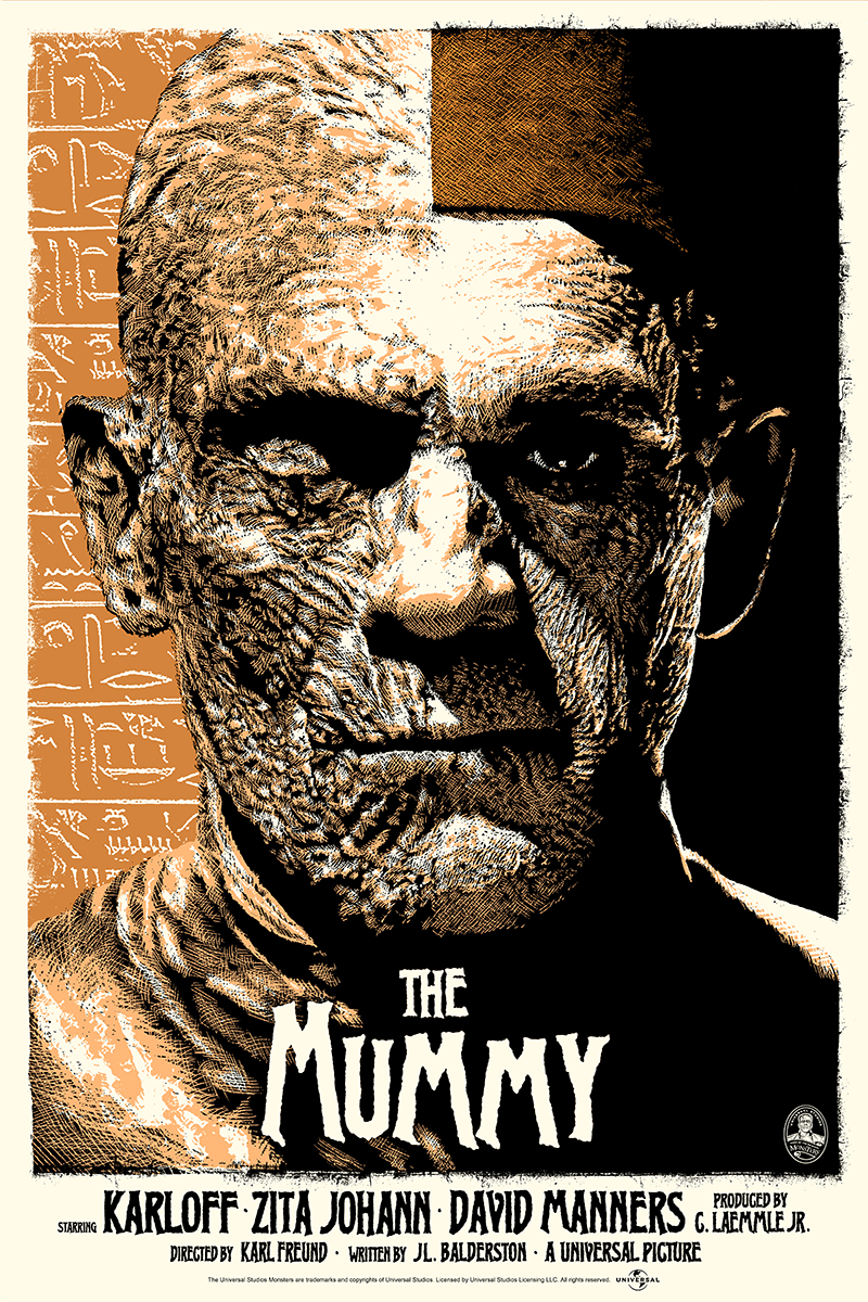 "The Mummy (Copper) by ElvisDead. 24""x36"" screen print. Hand numbered. Edition of 125. Printed by D&L Screenprinting. $45"