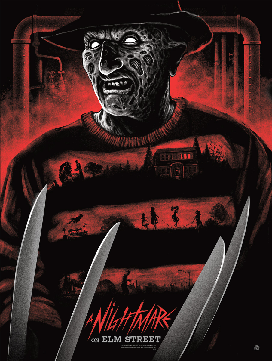 "A Nightmare on Elm Street by Gary Pullin. 18""x24"" screen print. Hand numbered. Edition of 225. Printed by D&L Screenprinting. $40"