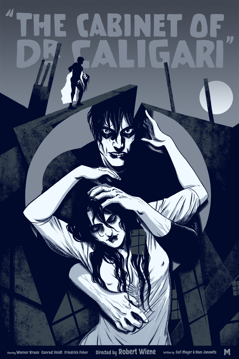 "The Cabinet of Dr. Caligari by Becky Cloonan. 16""x24"" screen print. Hand numbered. Edition of 225. Printed by D&L Screenprinting. $40"