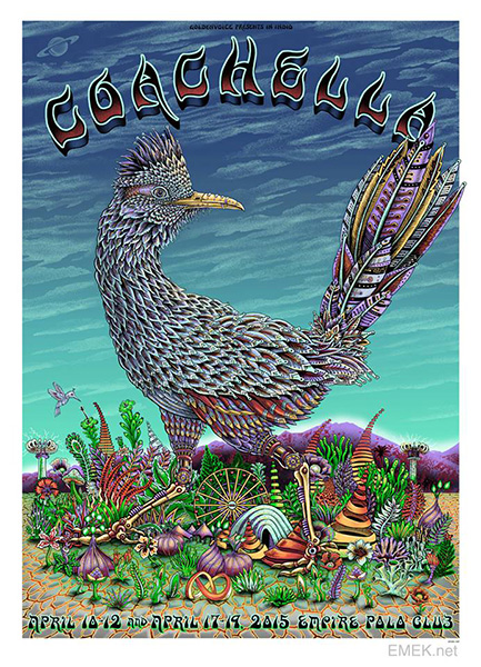 """Coachella 2015"" by Emek.  22"" x 30.5"" Screenprint.  Artist edition of 100 S/N.  $100"