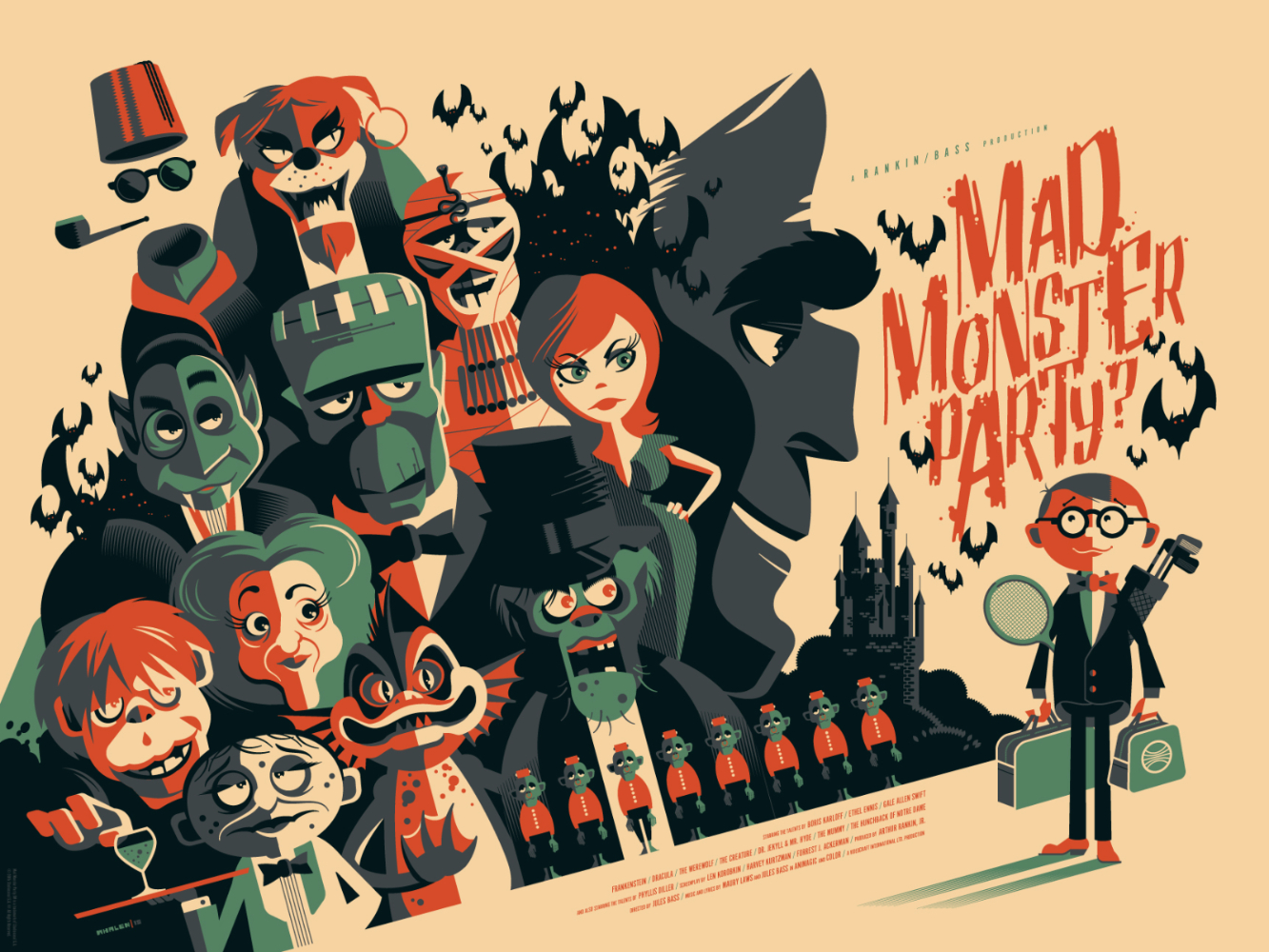 "Mad Monster Party (Variant) by Tom Whalen. 24""x18"" screen print. Signed & Hand numbered. Edition of 125. Printed by D&L Screenprinting. $65"
