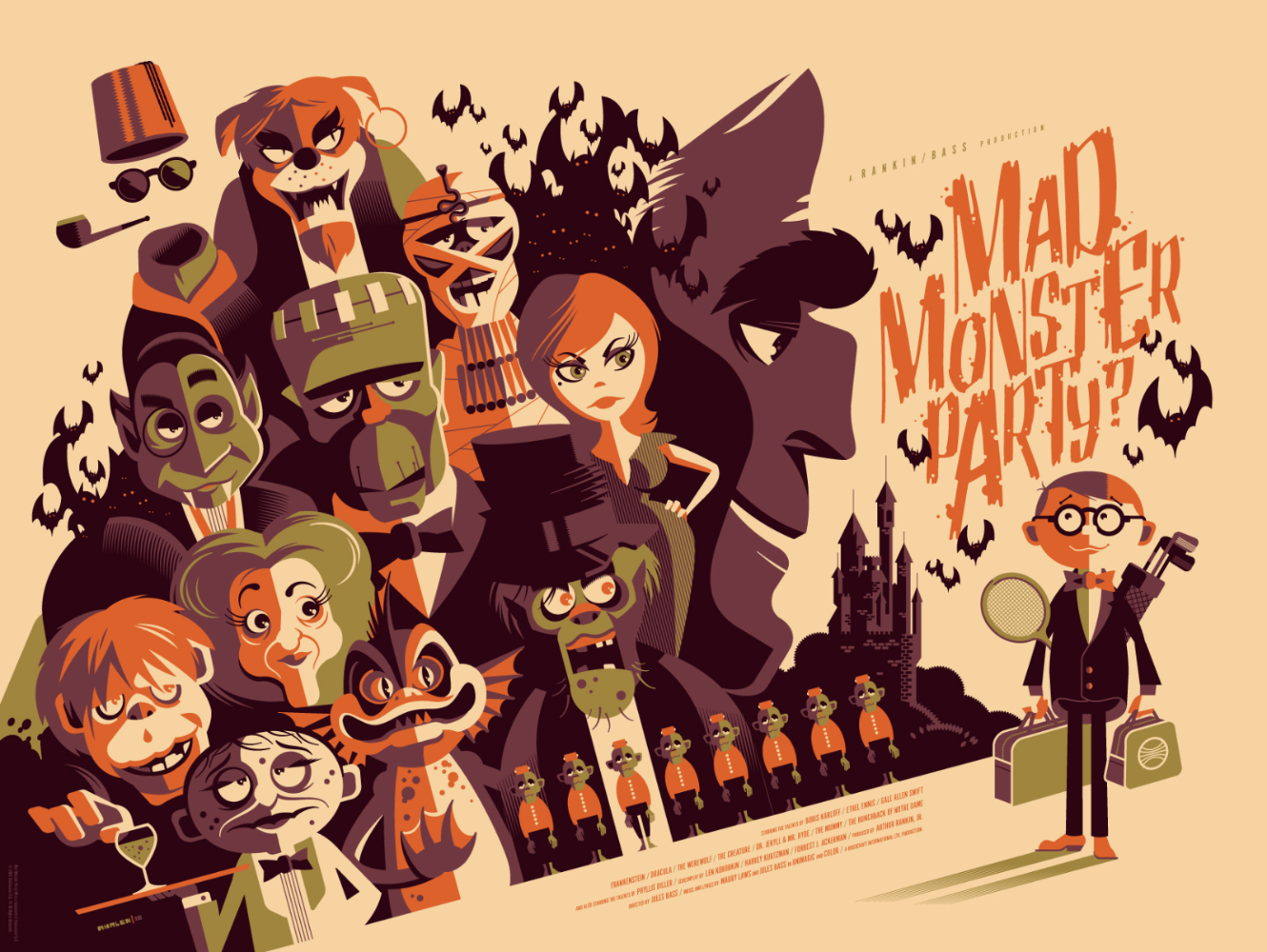 "Mad Monster Party by Tom Whalen. 24""x18"" screen print. Signed & Hand numbered. Edition of 250. Printed by D&L Screenprinting. $45"