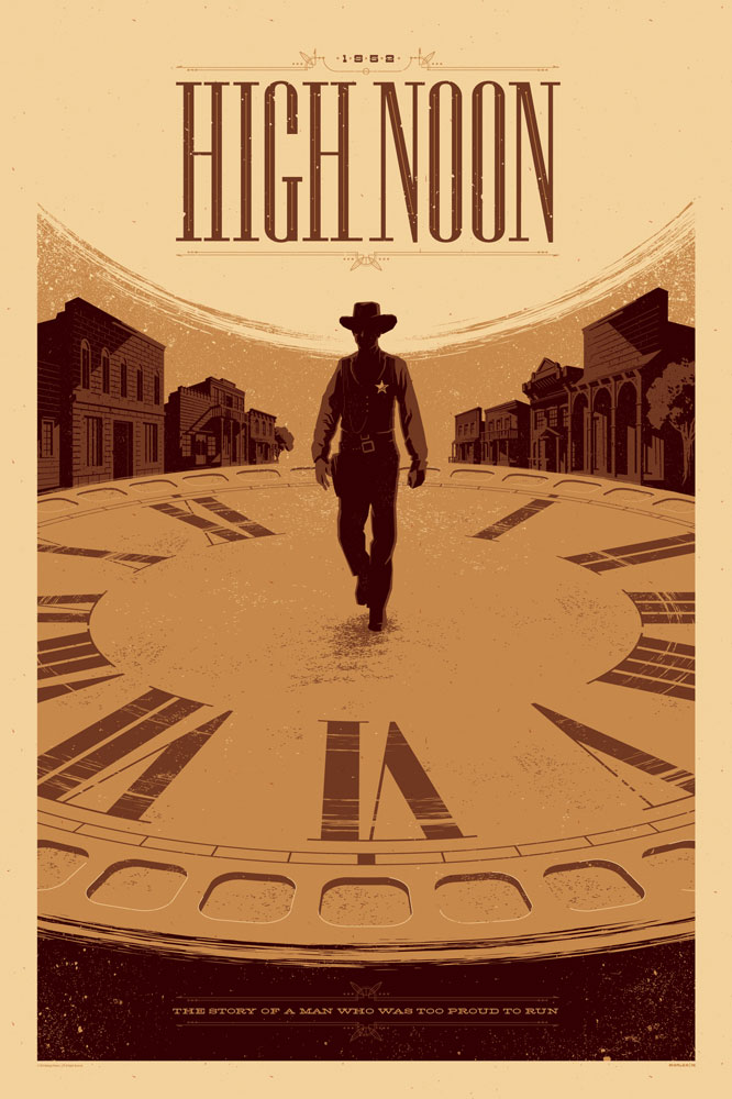 "High Noon by Tom Whalen. 24""x36"" screen print. Signed & Hand numbered. Edition of 175. Printed by D&L Screenprinting. $45"