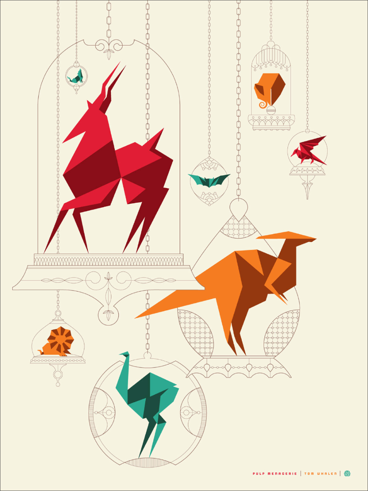 "Pulp Menagerie by Tom Whalen. 18""x24"" screen print. Signed & Hand numbered. Edition of 125. Printed by D&L Screenprinting. $40"
