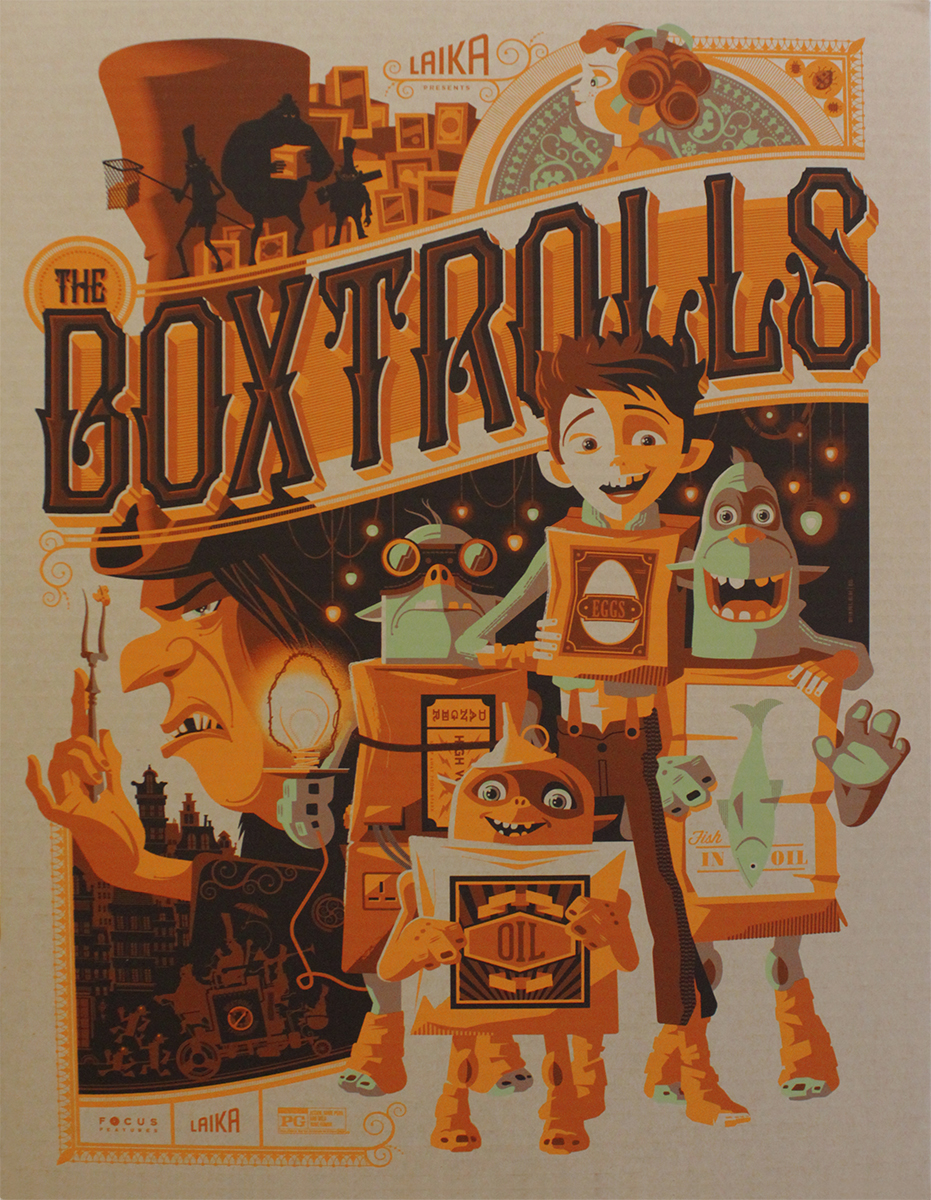 "The Boxtrolls (Cardboard Variant) by Tom Whalen. 18""x24"" screen print. Signed & Hand numbered. Edition of 65. Printed by D&L Screenprinting. $65"