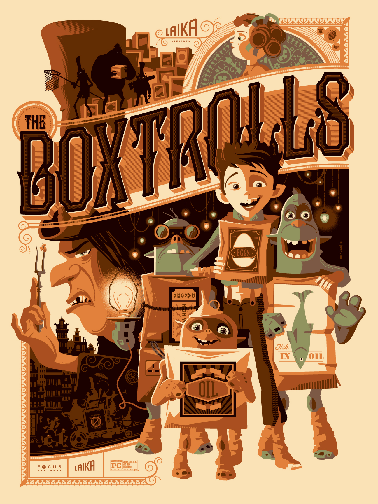 "The Boxtrolls by Tom Whalen. 18""x24"" screen print. Signed & Hand numbered. Edition of 275. Printed by D&L Screenprinting. $45"