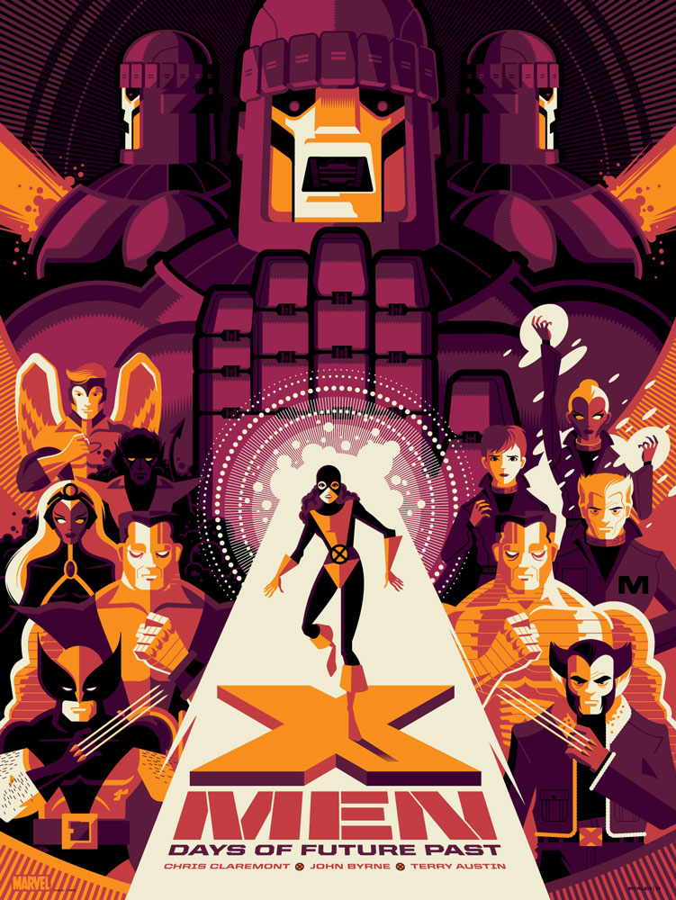 "X-Men: Days of Future Past (Variant) by Tom Whalen. 18""x24"" screen print. Signed & Hand numbered. Edition of 150. Printed by D&L Screenprinting. $65"