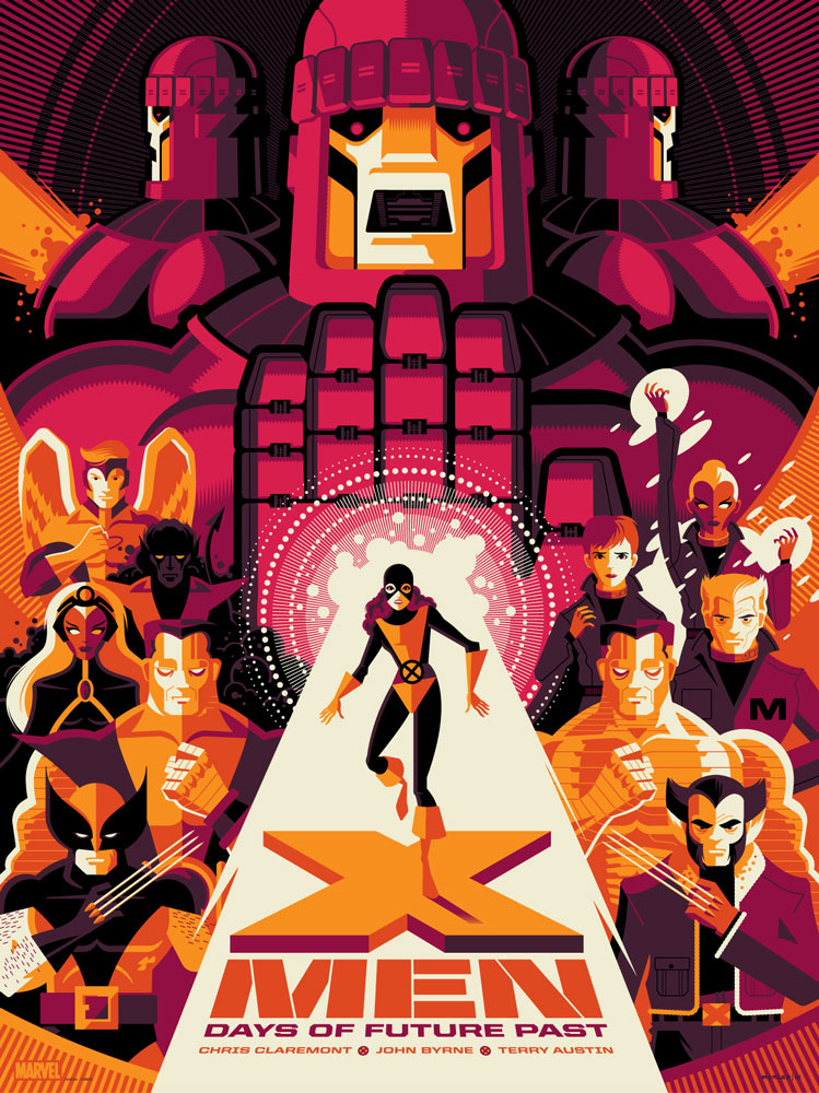 "X-Men: Days of Future Past by Tom Whalen. 18""x24"" screen print. Signed & Hand numbered. Edition of 325. Printed by D&L Screenprinting. $45"