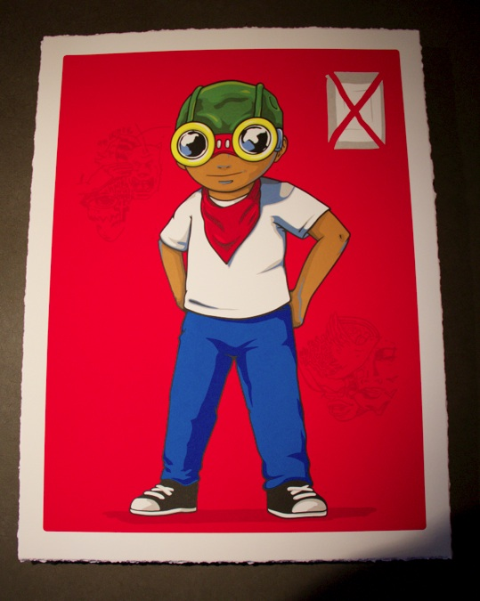 """The Champ Is Here"" by Hebru Brantley.  18"" x 24"" 10-color Screenprint.  Ed of 80 S/N.  $250"