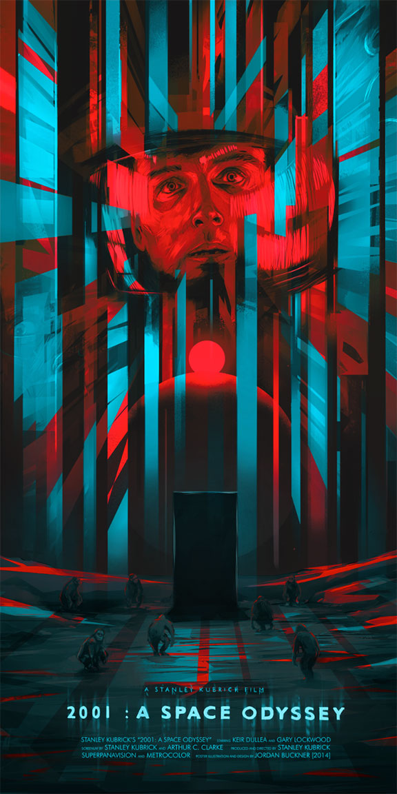 """2001: A Space Odyssey"" by Jordan Buckner.  12"" x 24"" Giclee.  Ed of 100 N.  $35 (Red Cyan)"