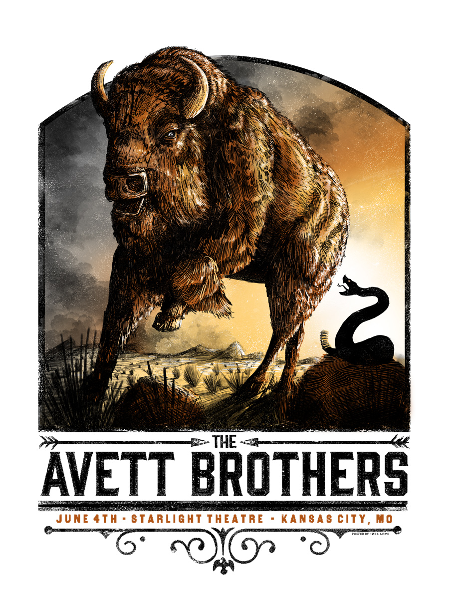 The Avett Brothers (variant w/metallic copper/silver) - Edition of 14 - $70