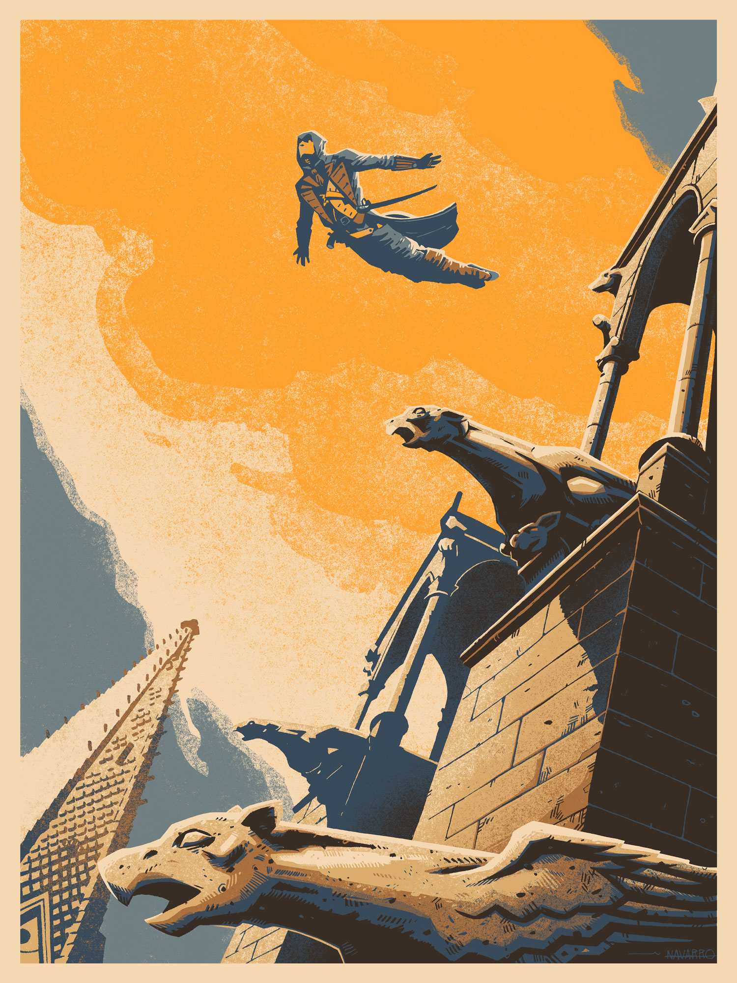 """Leap of Faith"" by Coke Navarro.  18"" x 24"" 6-color Screenprint.  Ed of 150 N.  €35 ($39)"