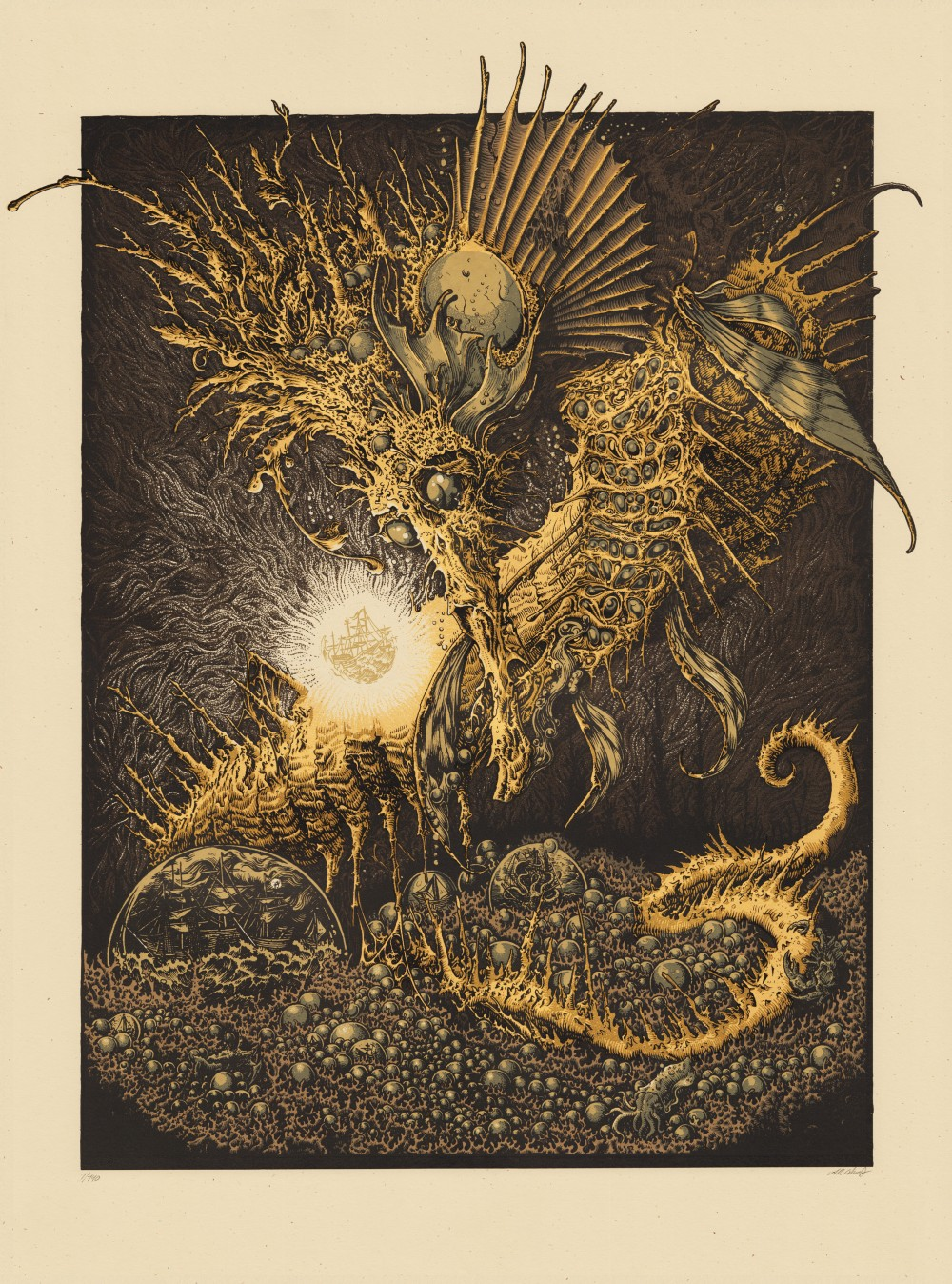 """The Celestial Hippocampus"" by Andrew Ghrist.  18"" x 24"" 5-color Screenprint.  Ed of 140 S/N.  $65"