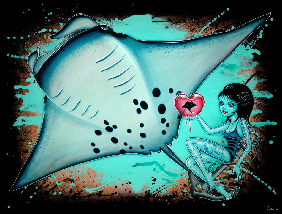 """""""May Mantas Thrive"""" by Caia Koopman.  18"""" x 24"""" Giclee.  Ed of 50 S/N.  $75"""
