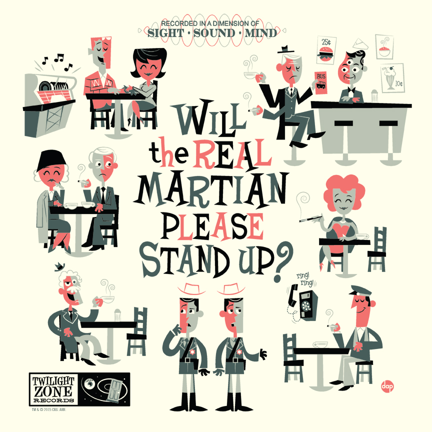 """Will the Real Martian Please Stand Up"" by Dave Perillo.  12"" x 12"" Screenprint.  Standard (Ed of 280, $35) : Wood (Ed of 10, $95)"