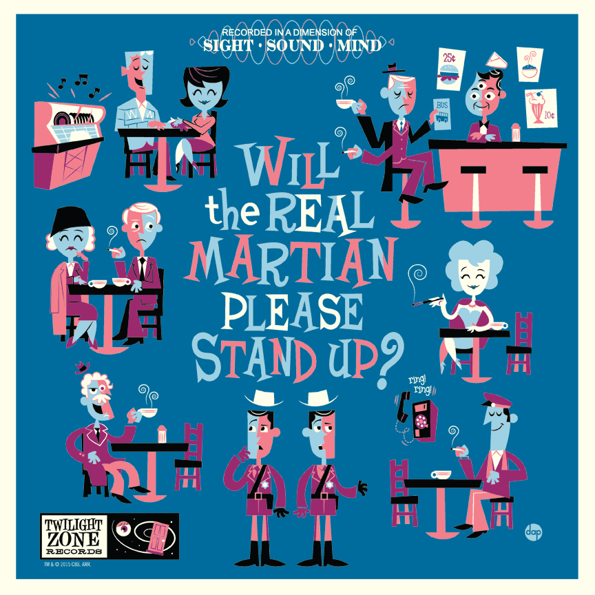 """Will the Real Martian Please Stand Up"" by Dave Perillo.  12"" x 12"" Screenprint.  Variant (Ed of 50, $50) : Wood (Ed of 10, $95)"