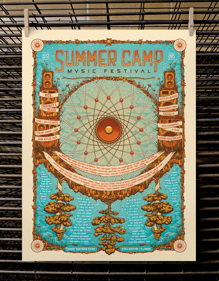 """Summer Camp Music Festival 2015"" by Half Hazard Press.  18"" x 24"" 4-color Screenprint.  Artist Edition S/N.  $40"
