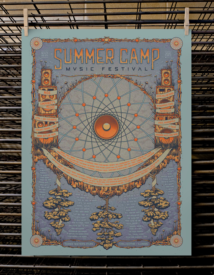"""Summer Camp Music Festival 2015"" by Half Hazard Press.  18"" x 24"" 4-color Screenprint.  Artist Edition S/N.  $40 (variant)"