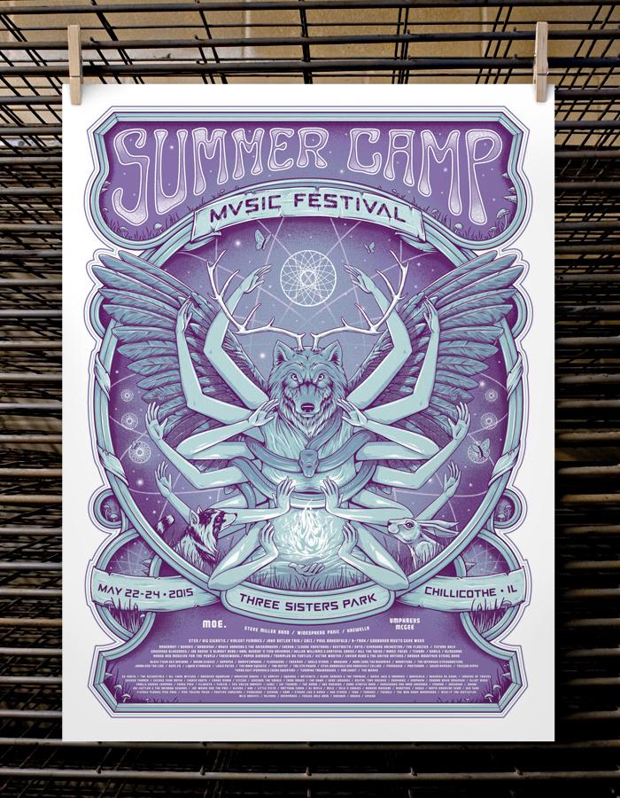 """Summer Camp Music Festival 2015"" by Half Hazard Press.  18"" x 24"" 3-color Screenprint.  Artist Edition S/N.  $40 (VIP)"