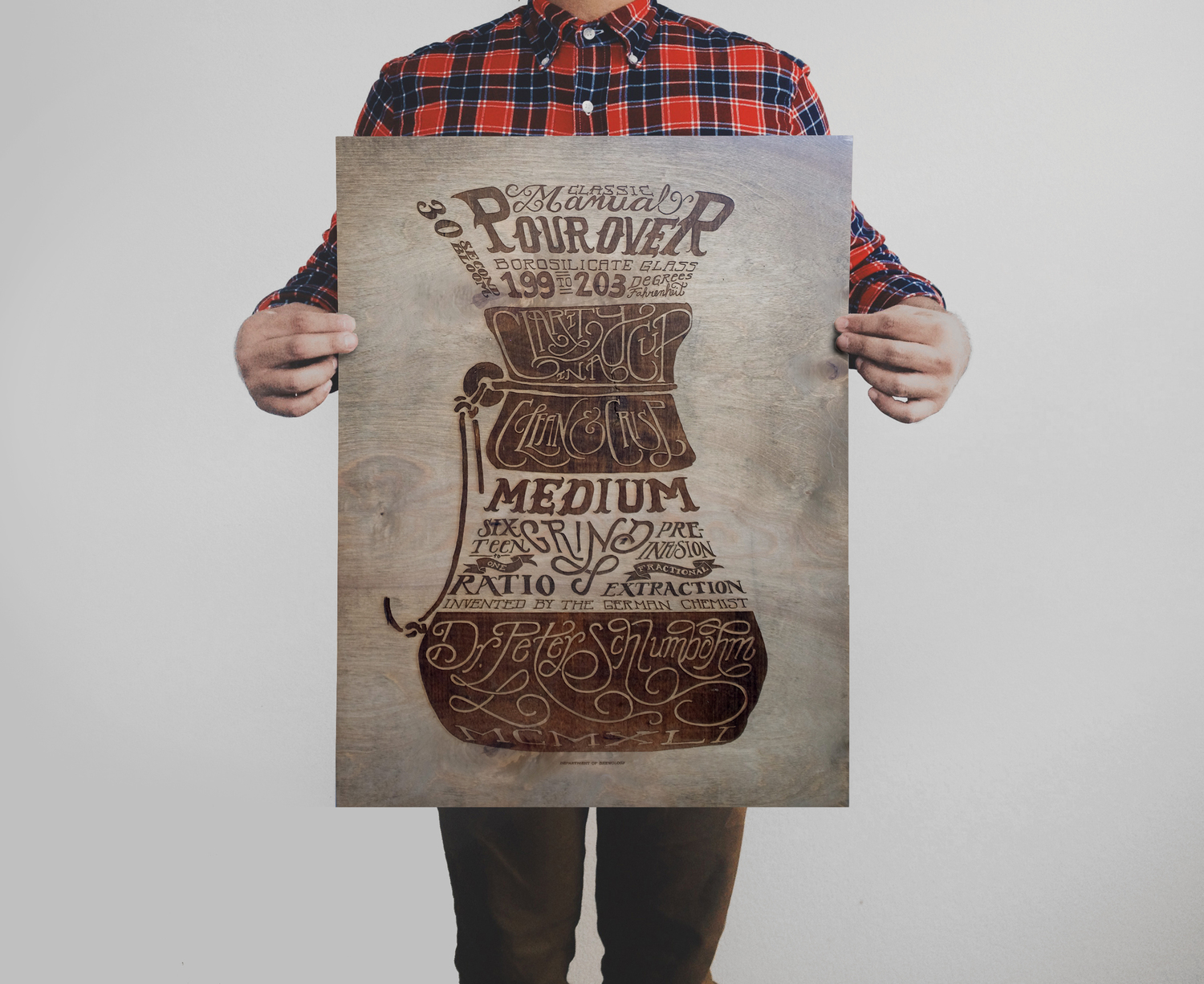 "Coffee print.  18"" x 24"" Laser etched wood, stained with coffee.  Ed of 10 N.  $300"