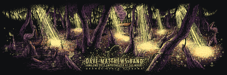 """Dave Matthews Band - Orange Beach, AL 2015"" by James R Eads.  12"" x 36"" 4-color Screenprint.  Artist edition of 80 S/N.  $45"